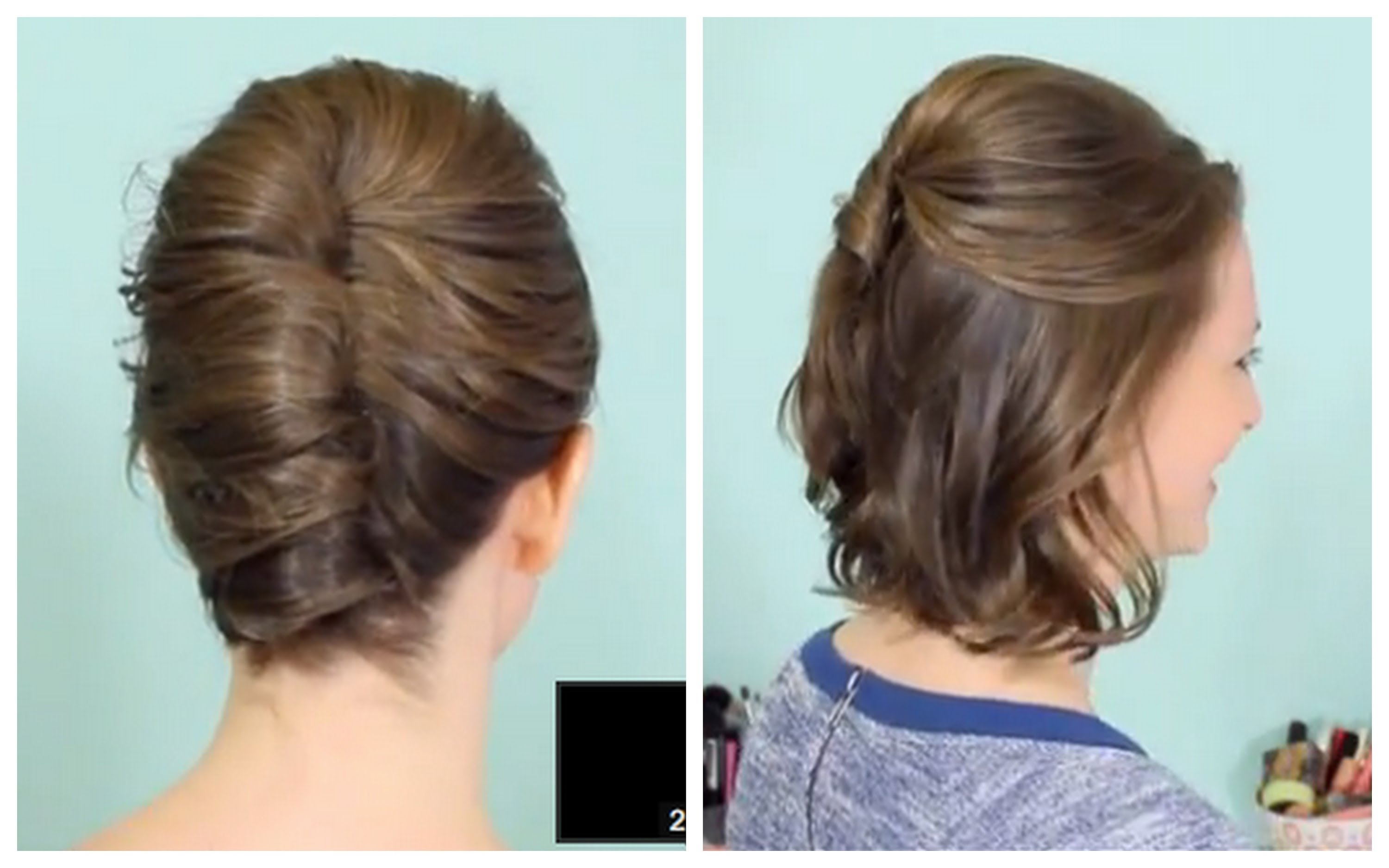 Easy Updo Hairstyles For Short Hair French Twist Half Updo For Short Throughout Half Updo Hairstyles For Short Hair (View 6 of 15)