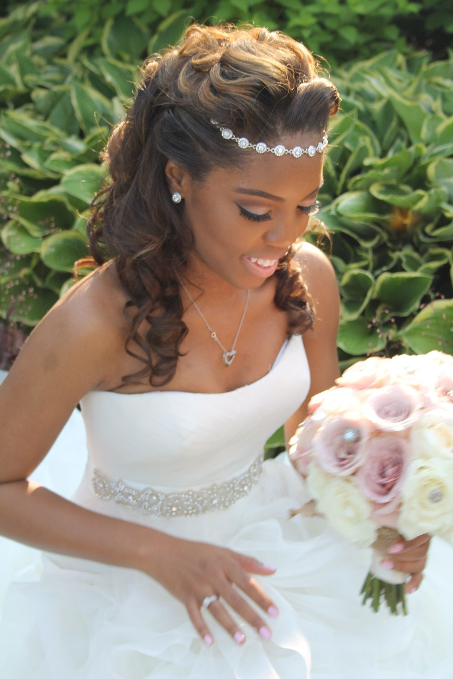 Elegant Bridal Up Do Hairstyle! Halo Hair Piece! No Vail Wedding Inside Black Bride Updo Hairstyles (Gallery 2 of 15)