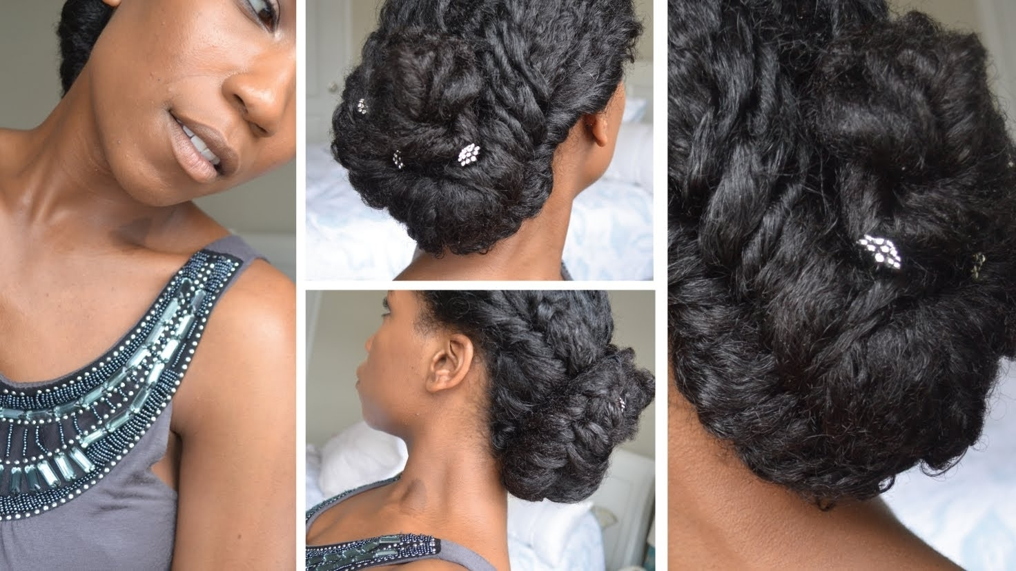 Elegant Fishtail Braid Updo | Natural Hair – Youtube Within Natural Hair Wedding Updo Hairstyles (View 11 of 15)