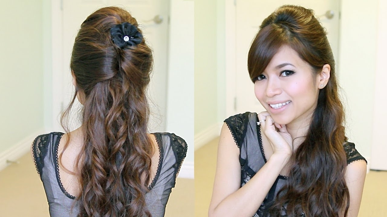 Elegant Prom Half Updo Hairstyle | Curly Hair Tutorial – Bebexo With Elegant Half Updo Hairstyles (View 10 of 15)
