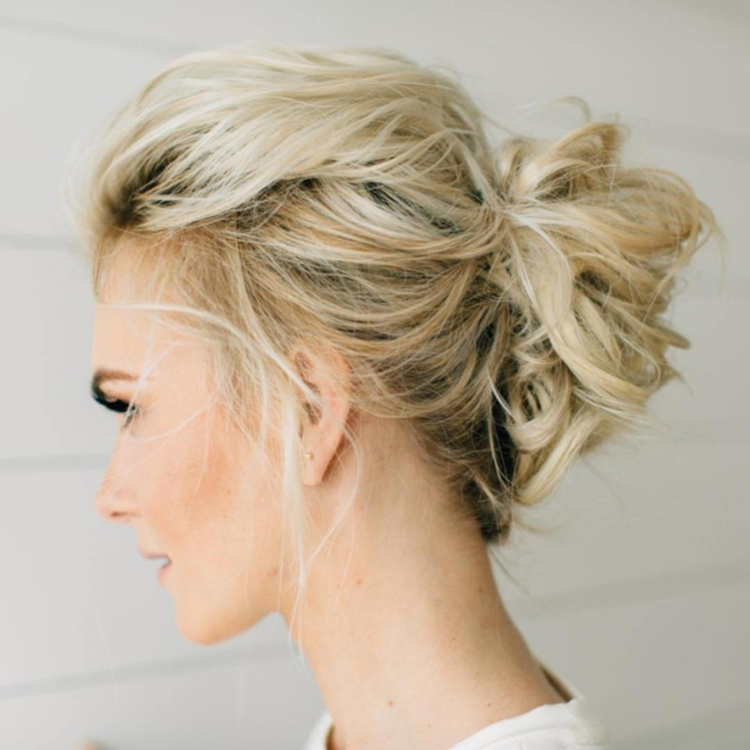 Evening Hairdos For Medium Hair 18 Messy Blonde Updo Ideas – New Regarding Blonde Updo Hairstyles (View 11 of 15)