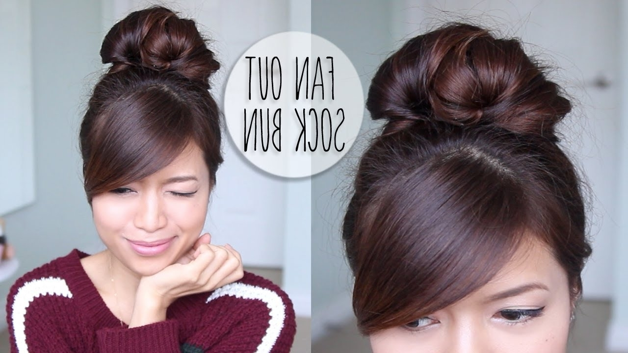 Everyday Fan Sock Bun Updo Hairstyle For Long Hair Tutorial – Youtube Pertaining To Bun Updo Hairstyles (Gallery 7 of 15)