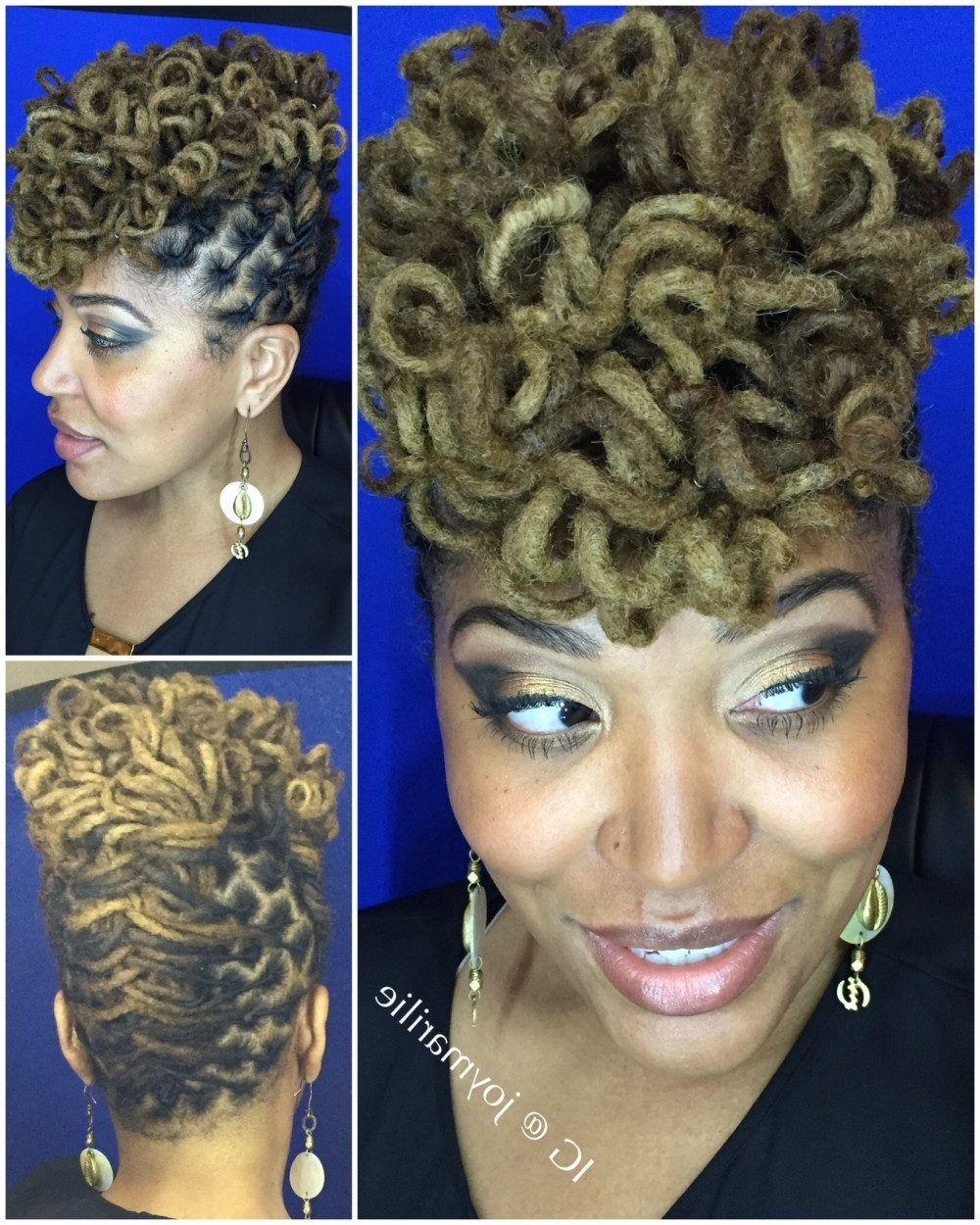 Excellent Loc Updo Hairstyles: Curly Loc Pompadour My Loc Styles And With Regard To Updo Locs Hairstyles (View 8 of 15)