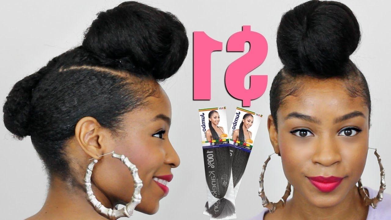 Faux Shaved Sides Top Knot Bun With Kanekalon Hair▻ Natural Hair For Updo Hairstyles Using Kanekalon Hair (View 6 of 15)