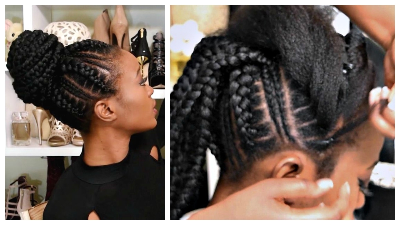 Feed In Stitch Braids Bun With Pre Stretched Hair – Very Affordable Within Scalp Braids Updo Hairstyles (View 10 of 15)