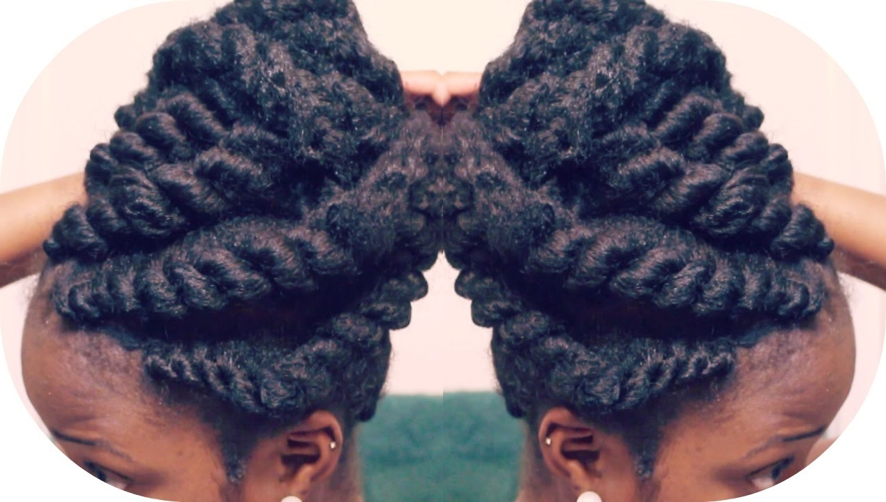 Flat Twist Updo Using Marley Braiding Hair | Summer Protective Style Pertaining To Flat Twist Updo Hairstyles With Extensions (View 15 of 15)