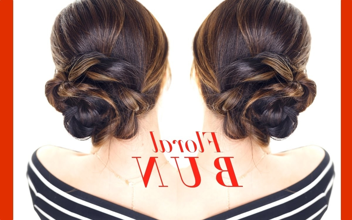 Floral Side Bun Hairstyle 👸☆ Easy Holiday Updo Hairstyles – Youtube Regarding Updos Buns Hairstyles (View 12 of 15)