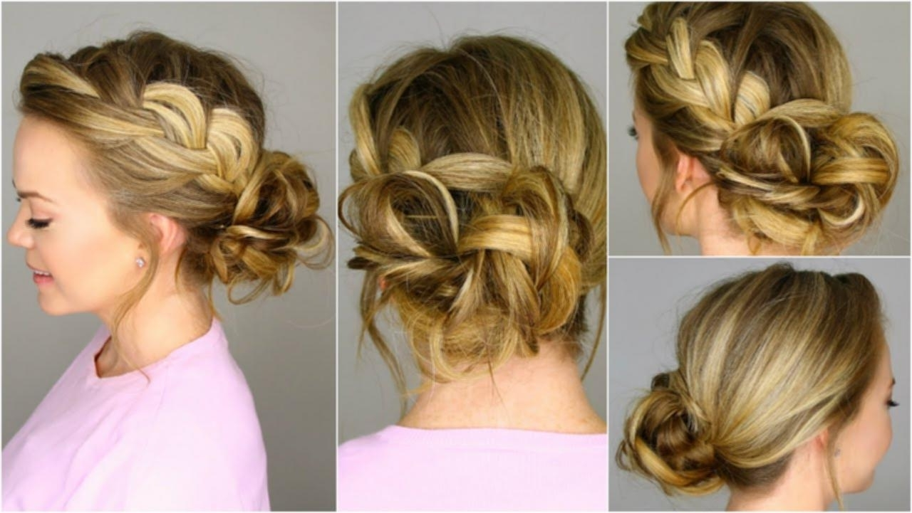 French Braid Into Messy Bun Messy French Braided Updo Hairstyles For Braided Updo Hairstyles For Long Hair (View 14 of 15)