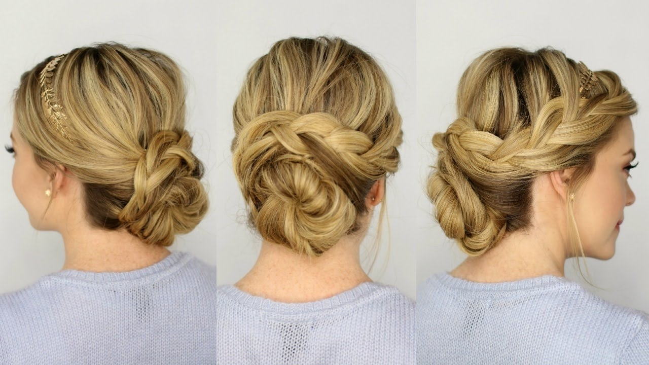 French Braid Updo – Youtube Regarding Updo Hairstyles With French Braid (View 7 of 15)