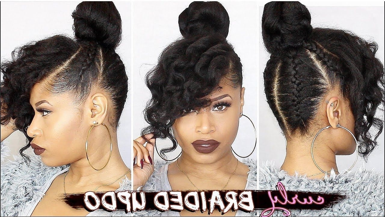 French Braided Curly Updo ➟ Natural Hair How To [Video | French With Updo Hairstyles For Natural Hair With Weave (View 5 of 15)
