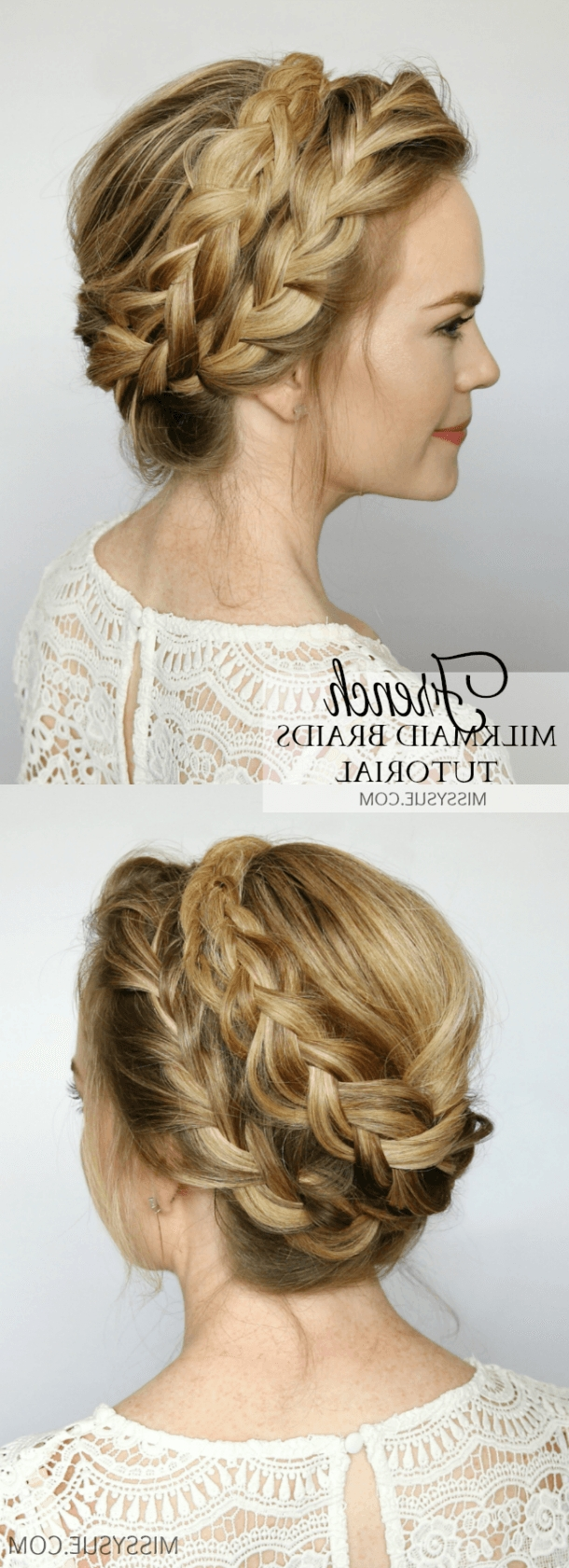French Milkmaid Braids | Milkmaid Braid, Updo And Tutorials In Braided Crown Updo Hairstyles (View 6 of 15)