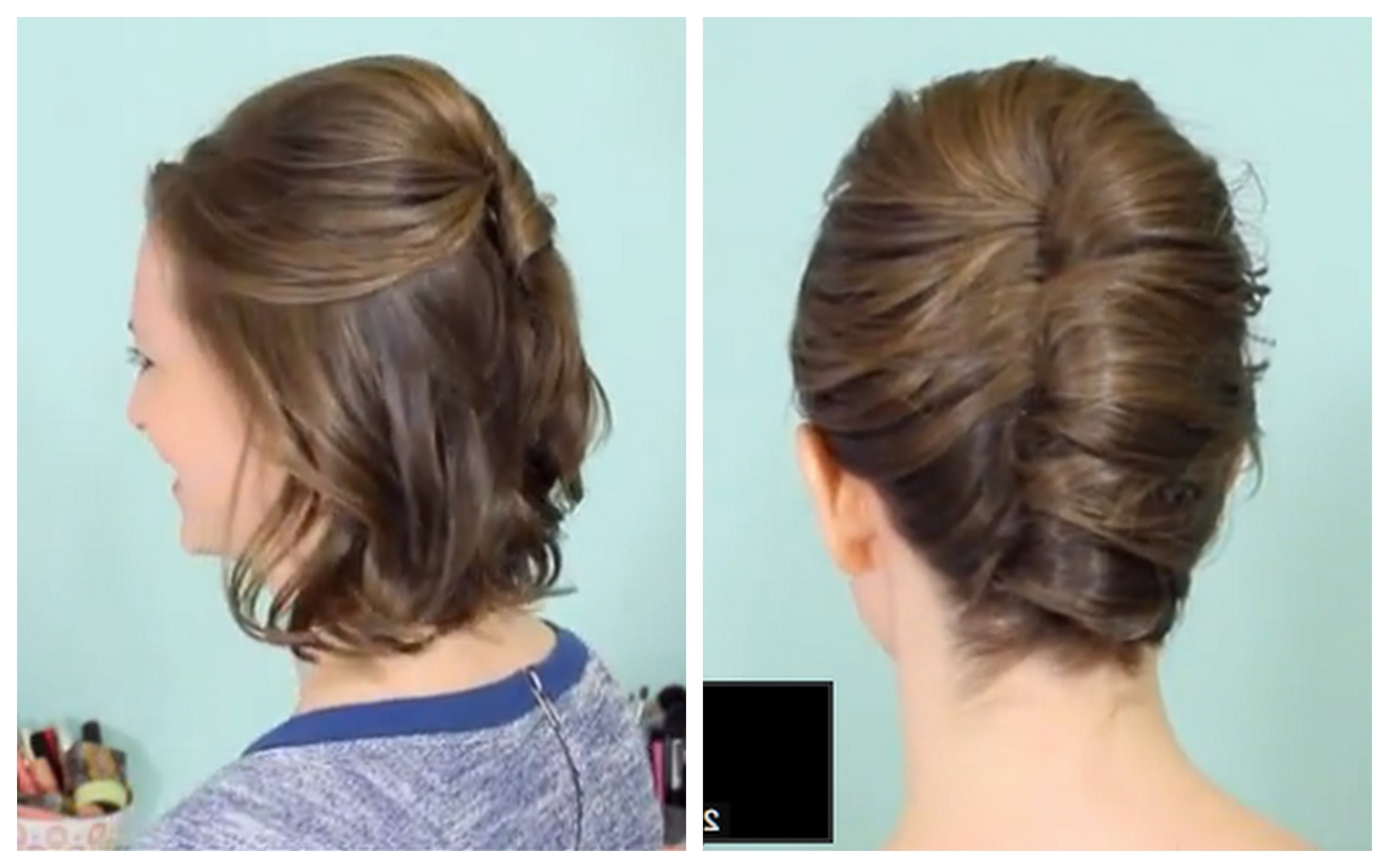 French Twist & Half Updo For Short Hair! – Youtube Pertaining To French Twist Updo Hairstyles (View 7 of 15)