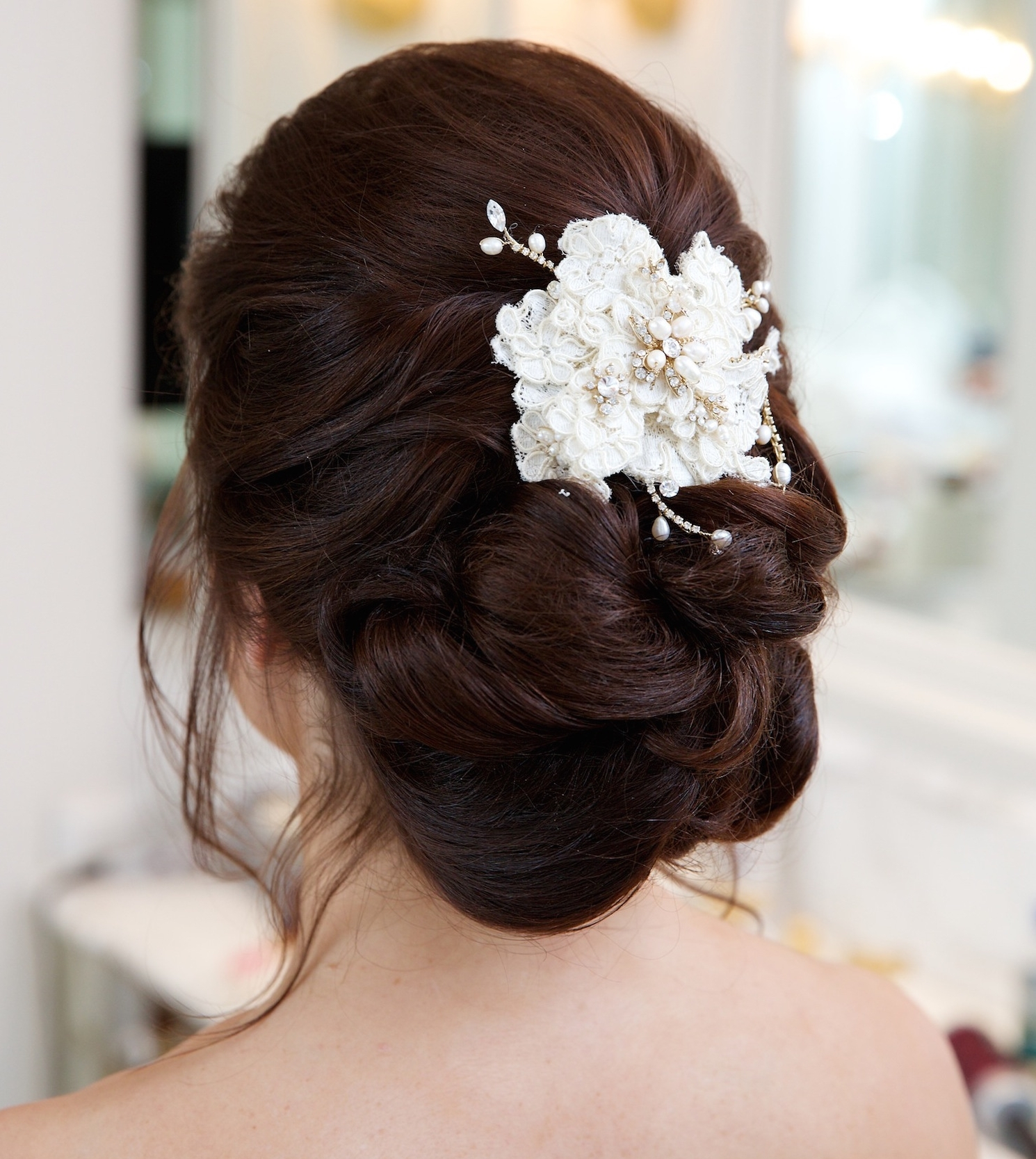 Gorgeous Hair Accessories For Brides On Their Wedding Day – Inside With Long Hair Updo Accessories (View 6 of 15)