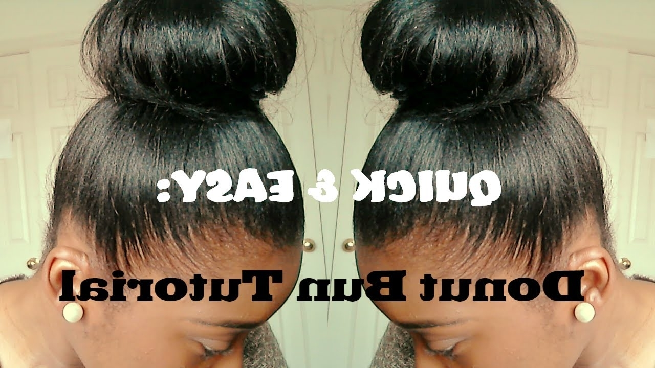 Hair Tutorial| High Bun For Relaxed Hair (Quick And Easy) – Youtube In Updo Hairstyles For Permed Hair (View 5 of 15)