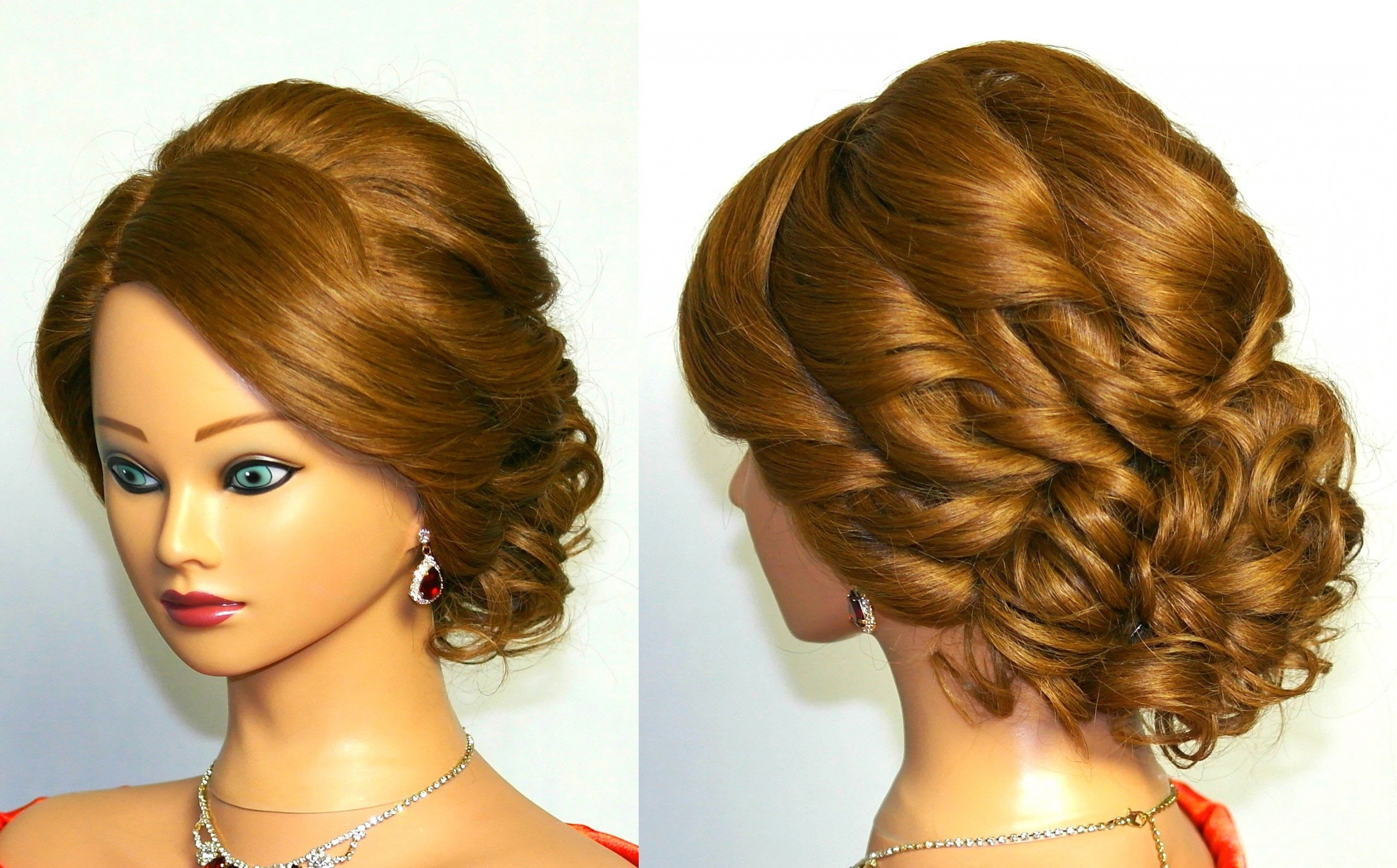 Hair Updo Hairstyles Bridal Curly Updo Hairstyle For Medium Hair With Wavy Hair Updo Hairstyles (View 9 of 15)