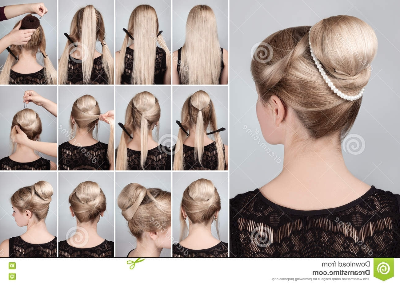 Hairstyle With Bun For Long Hair Tutorial Stock Image – Image Of Regarding Updo Hairstyles For Long Hair Tutorial (View 11 of 15)