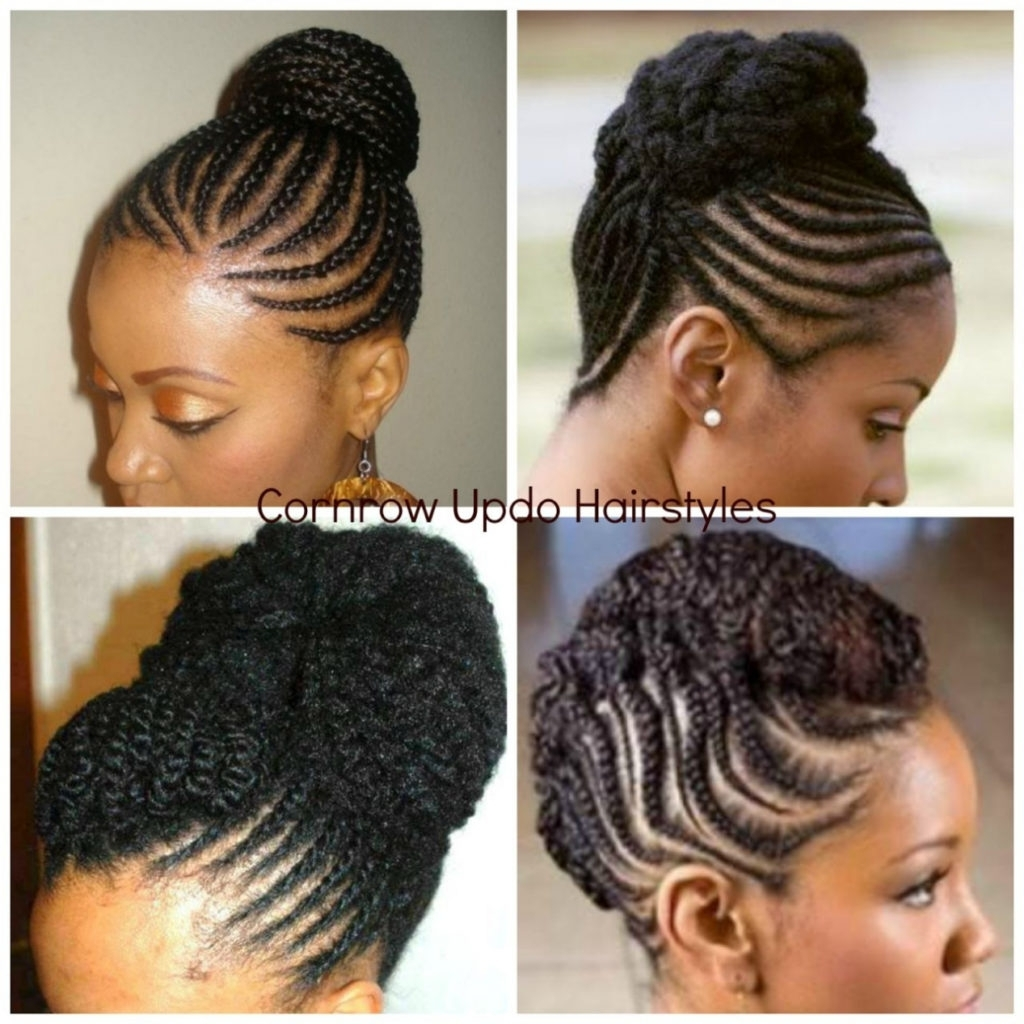 Hairstyles ~ Updo Braiding Styles Natural Hair Cornrow Hairstyles With Cornrow Updo Bun Hairstyles (View 12 of 15)