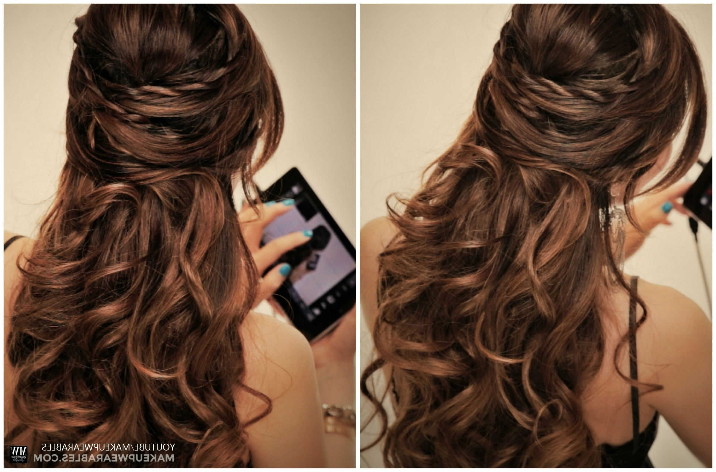 Hairstyles ~ Updos For Medium Hair Half Up Half Down Women Medium Regarding Partial Updos For Medium Hair (View 5 of 15)