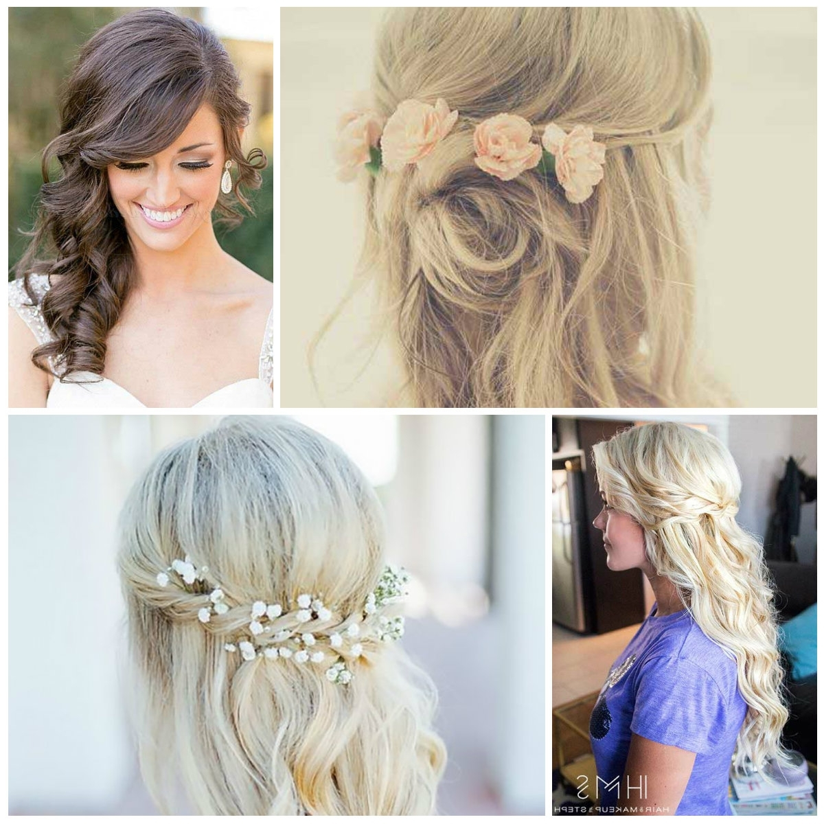 Half Up Bridal Hairstyle Ideas | New Haircuts To Try For 2018 Inside Half Updo Hairstyles (View 7 of 15)