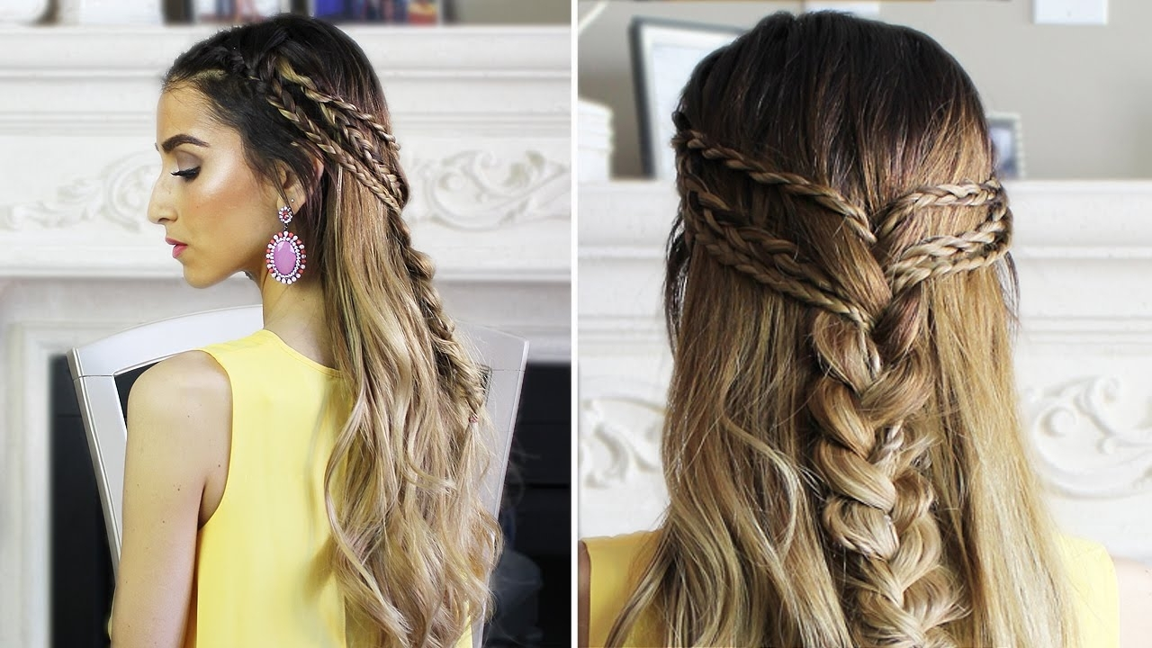 Half Up Half Down Boho Hairstyle – Youtube Regarding Boho Updos For Long Hair (View 11 of 15)