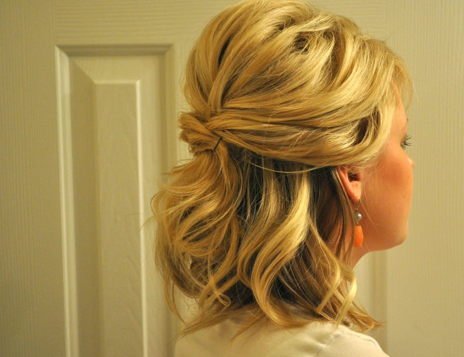 Half Up Half Down Side Wedding Hairstyles | Justswimfl In Partial Updos For Medium Hair (View 7 of 15)