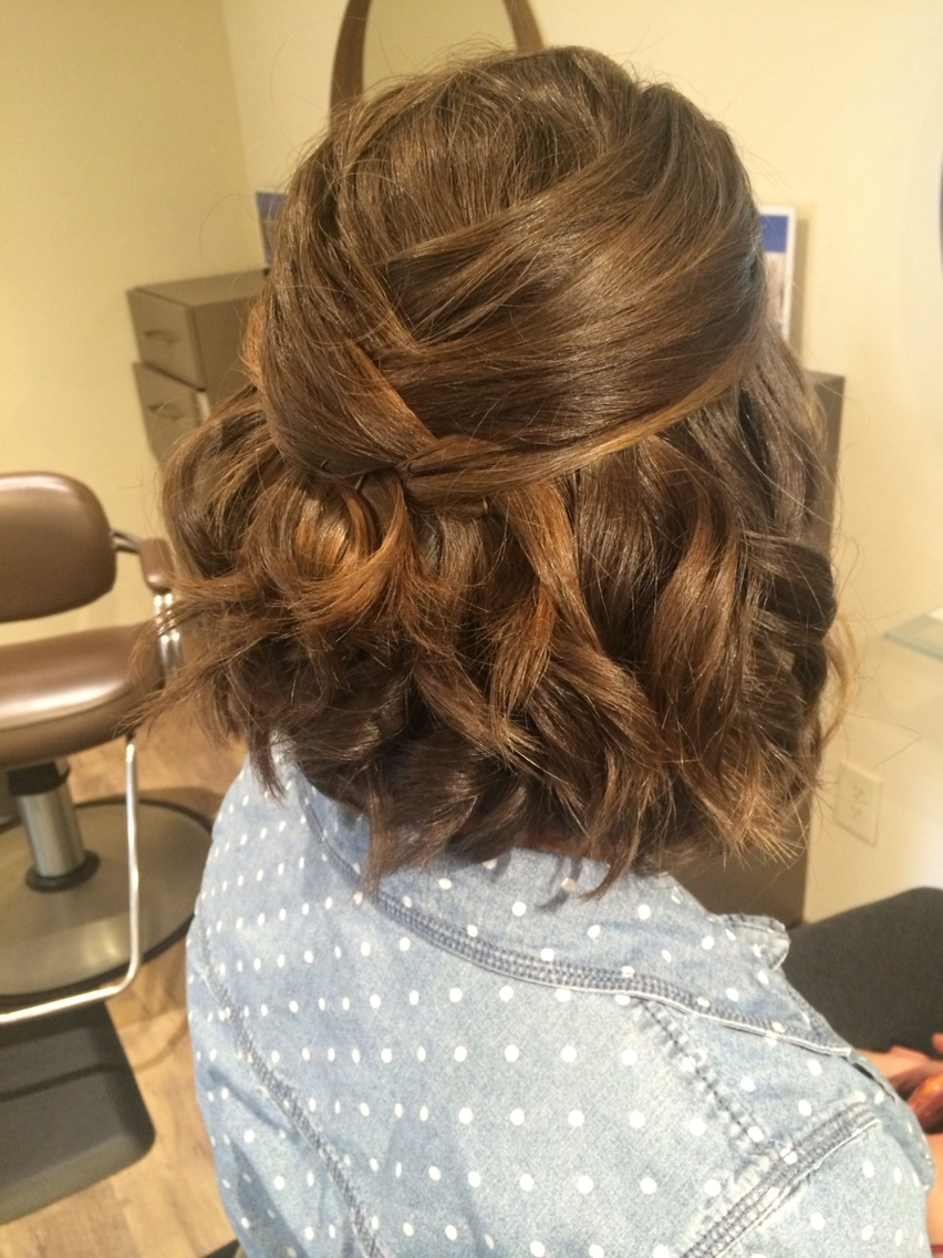 Half Updo. Braid. Curls. Short Hair (View 9 of 15)
