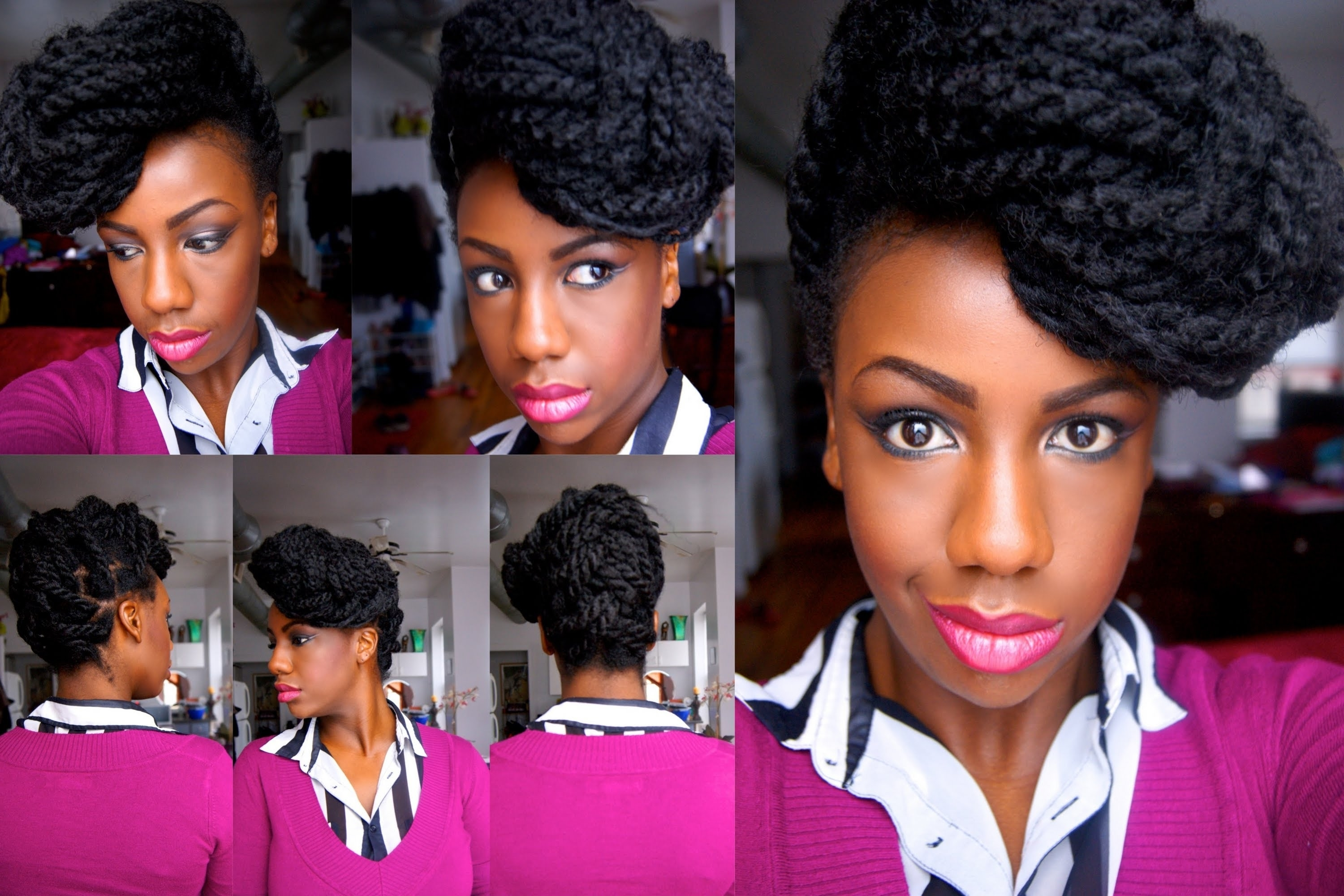 Havana Marley Twists Fishtail Braid Updo – Youtube Within Senegalese Twist Styles Updo Hairstyles (View 12 of 15)