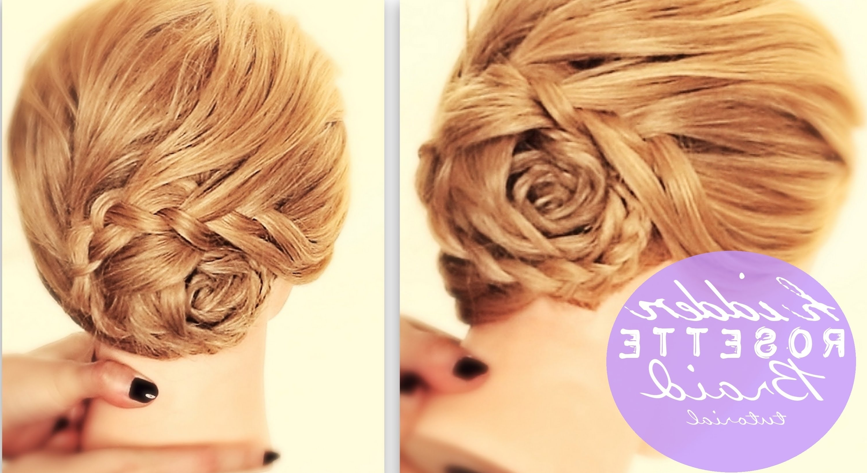 Hidden Rosette Braid Bun Tutorial | Cute Hairstyles For Medium Long Pertaining To Cute Updo Hairstyles For Long Hair (View 11 of 15)