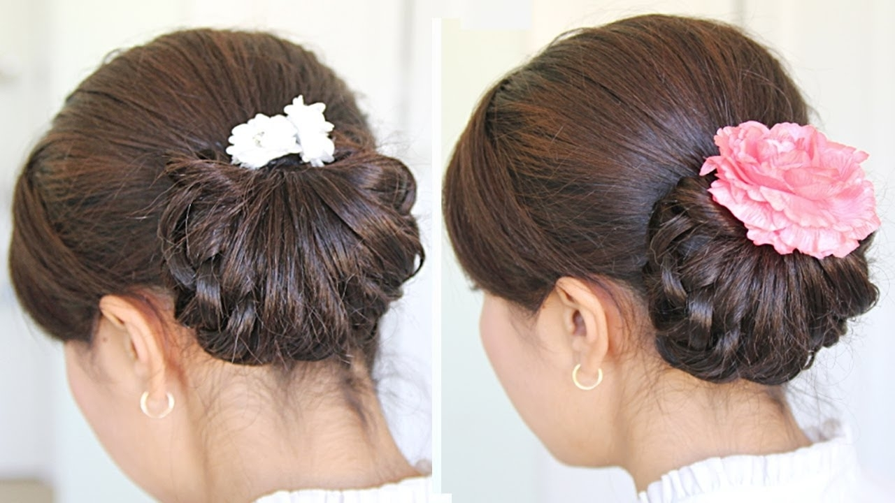 Homecoming Knotted Hair Bun Updo Hairstyle For Medium Hair Tutorial Within Knot Updo Hairstyles (View 8 of 15)
