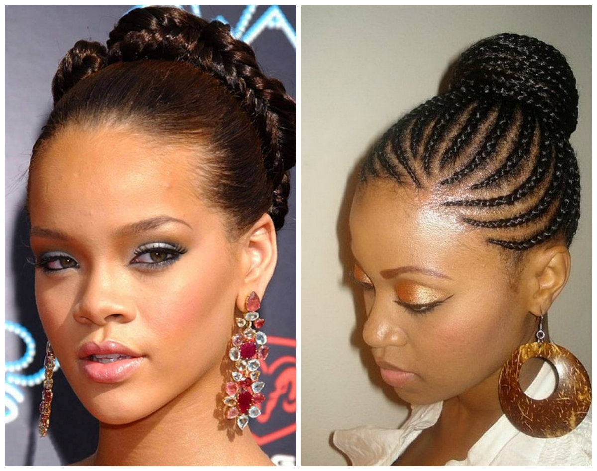 Hot African American Stone Age Inspired Braided Hairstyle Ideas In Black Braided Bun Updo Hairstyles (View 13 of 15)