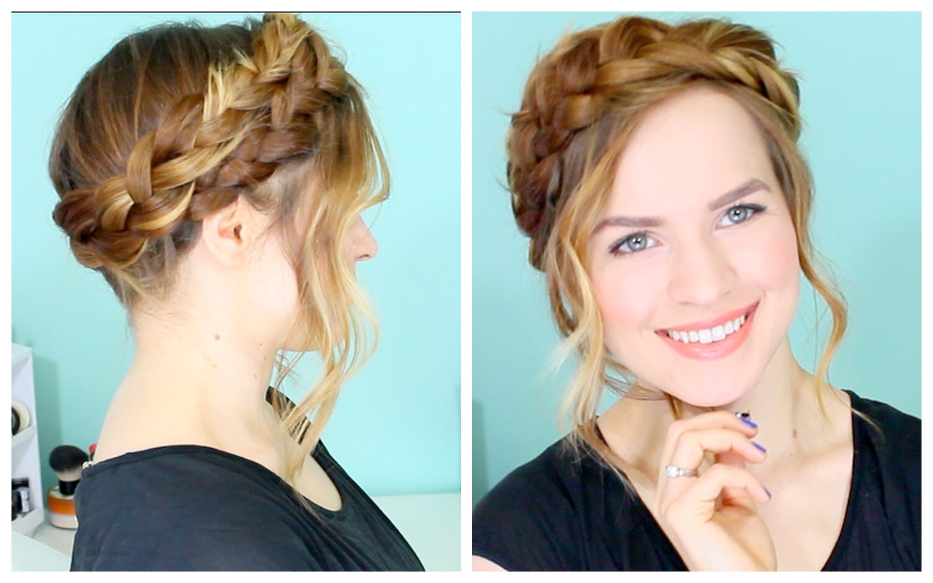 How To: Easy Crown Braid – Youtube Inside Braided Crown Updo Hairstyles (View 15 of 15)