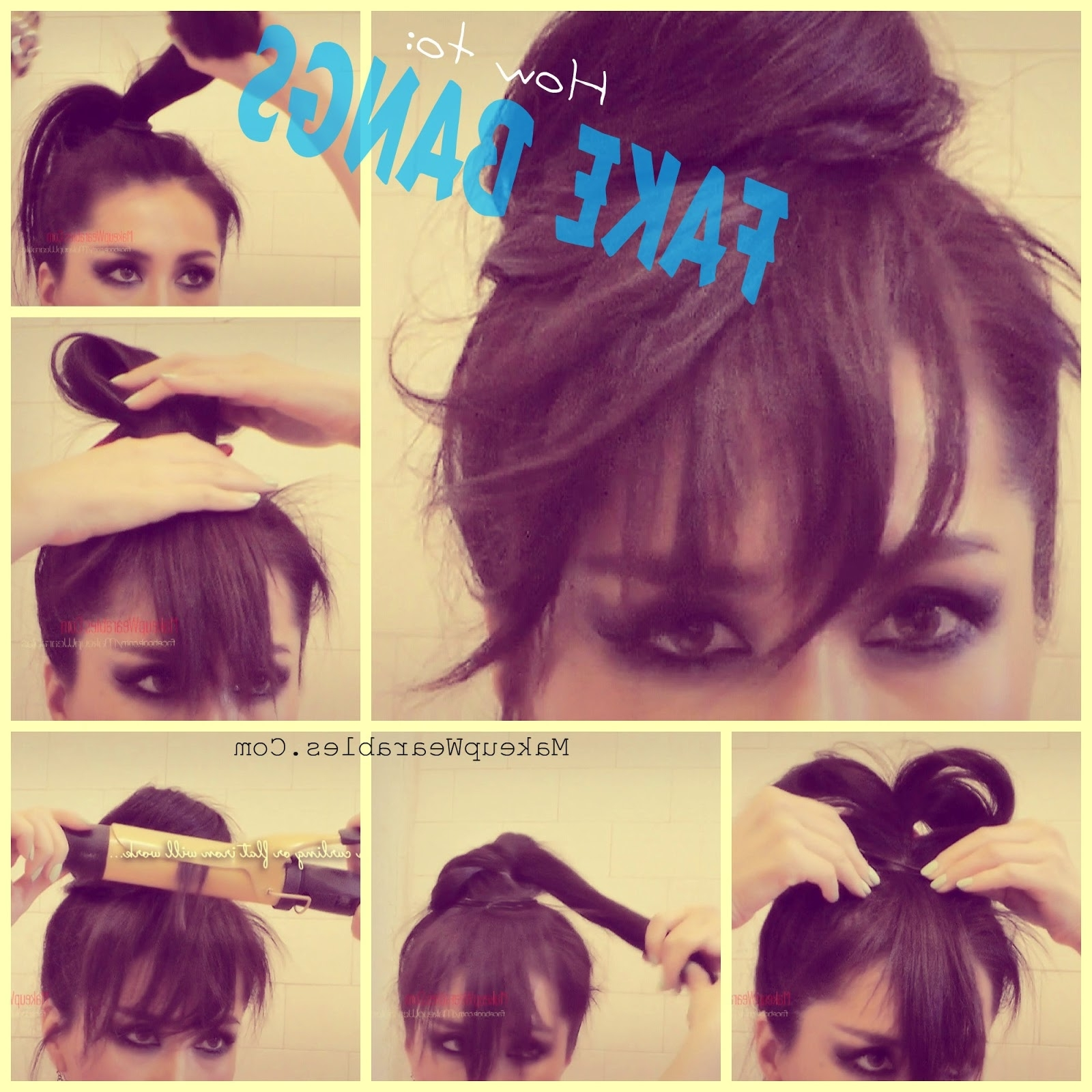 How To Fake Bangs | Cute Easy Bun Hairstyles | Hair Tutorial Video Pertaining To Updos For Long Hair With Bangs (View 15 of 15)