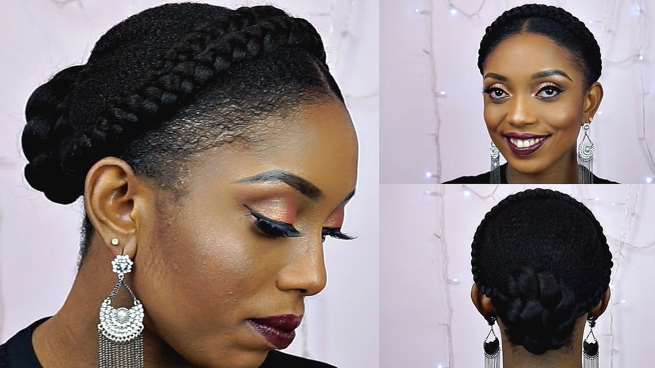 How To Goddess Halo Braids With Bun Updo Tutorial On Short Natural Within Natural Updo Bun Hairstyles (View 7 of 15)