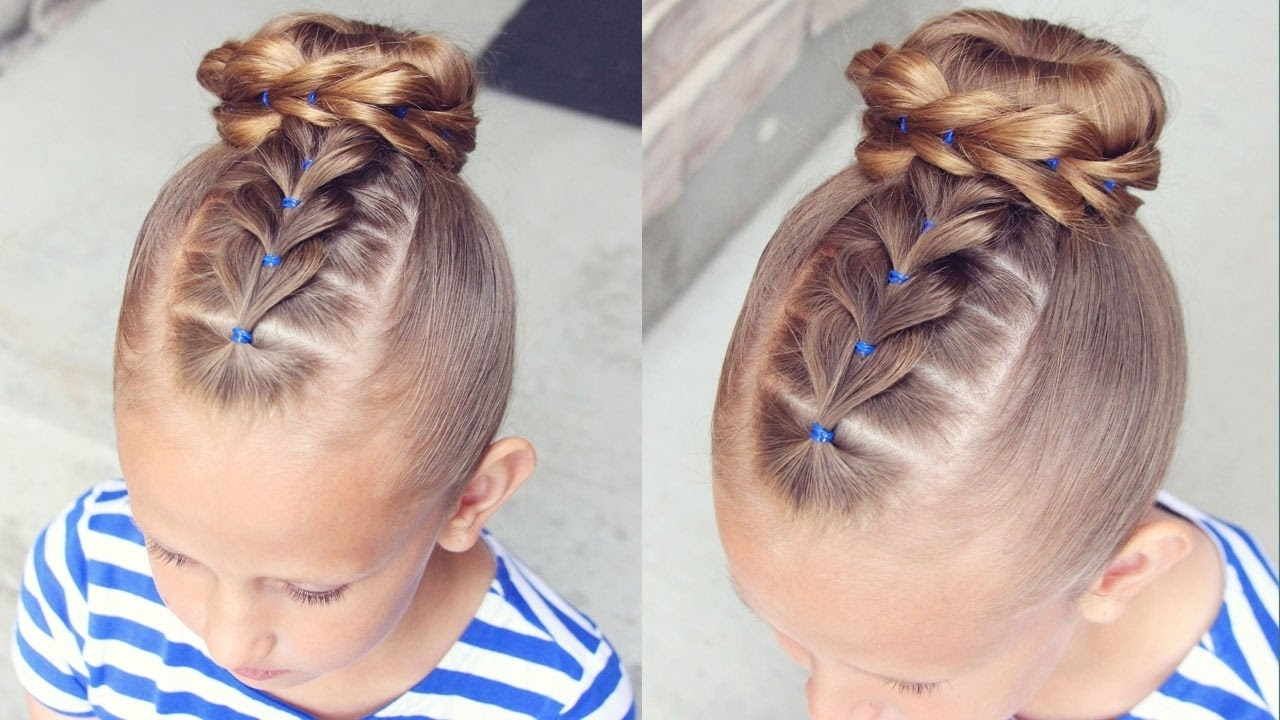 How To: Pull Through Bun Hairstyle | Little Girl Hairstyles – Youtube With Easy Updo Hairstyles For Kids (View 14 of 15)