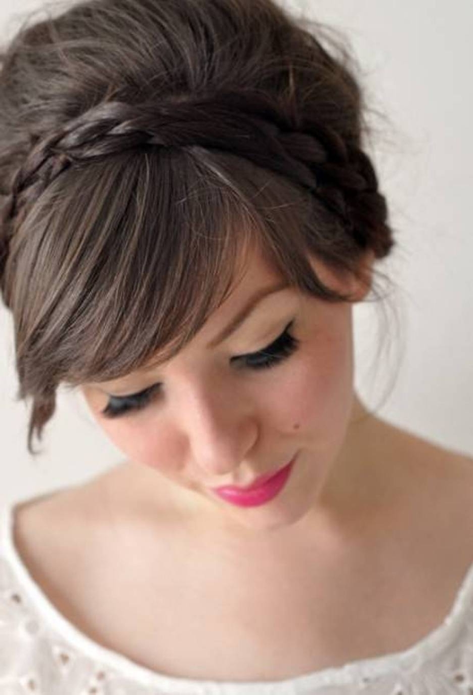Inspiring The Simple And Elegant Medium Hair Style U Svapop Wedding Intended For Updos For Layered Hair With Bangs (Gallery 10 of 15)