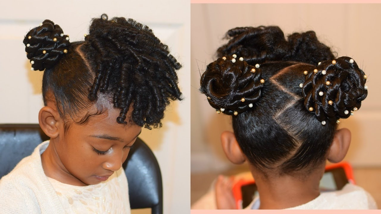 Kids Natural Hairstyles: The Buns And Curls (Easter Hairstyle) – Youtube In Children's Updo Hairstyles (Gallery 8 of 15)