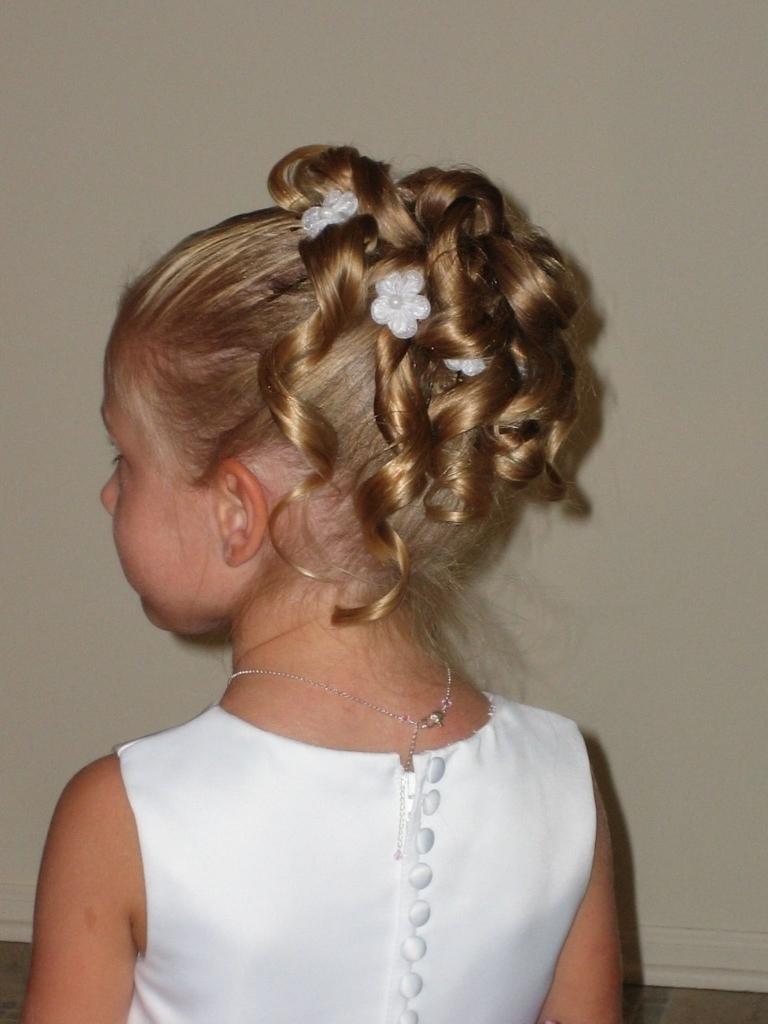 Little Girl Updo Hairstyles Short Hairstyles For Flower Girls Hair Inside Updo Hairstyles With Flowers (View 7 of 15)