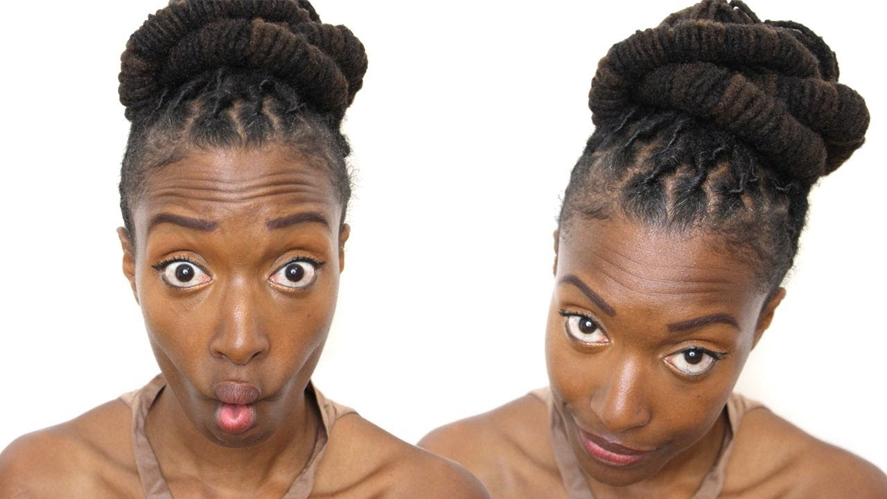 Loc Hairstyle Tutorial: Barrel Bun Updo – Youtube With Regard To Updo Dread Hairstyles (View 3 of 15)