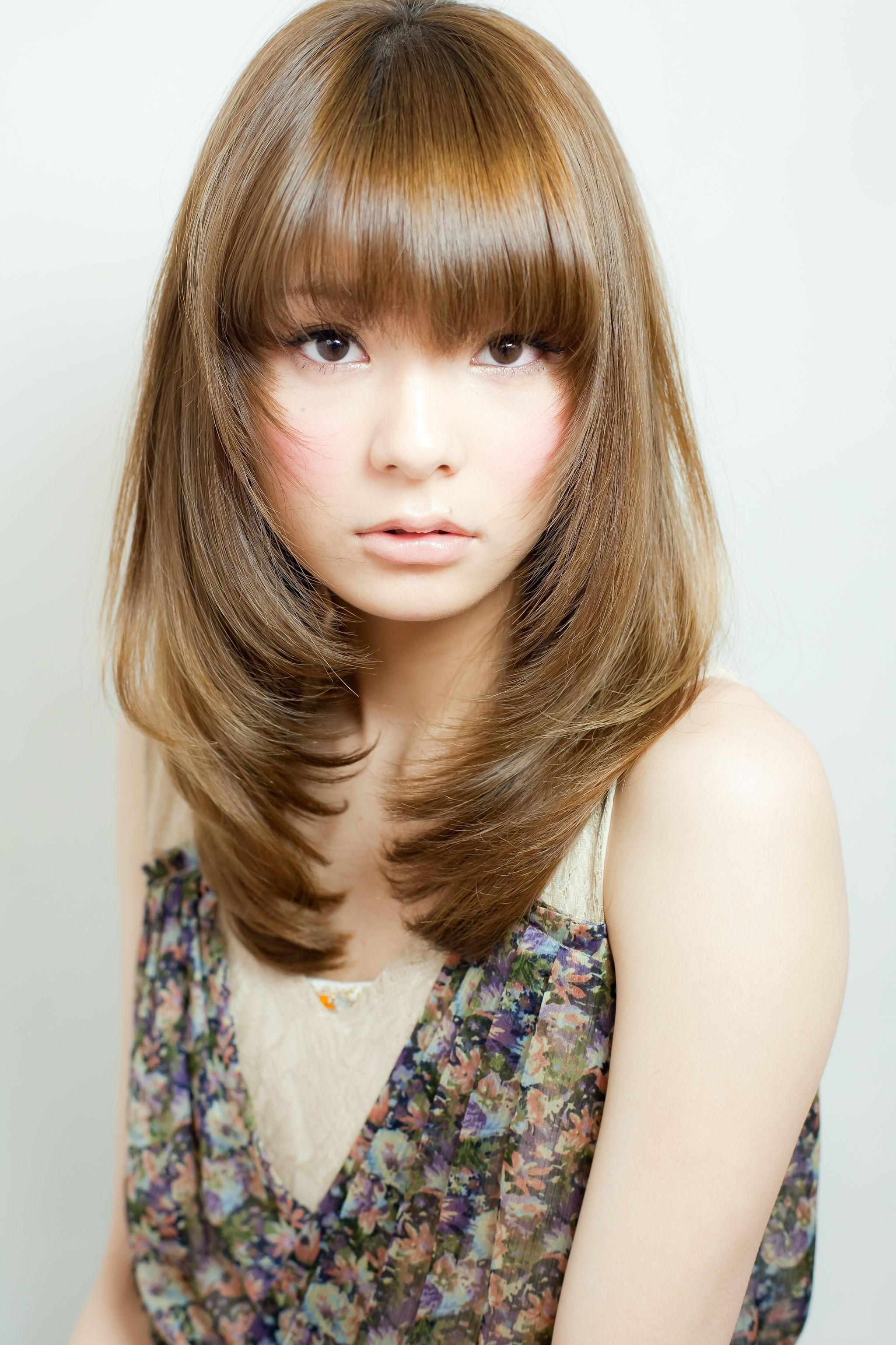 Long Straight Light Brown With Face Framing Layers And Bangs Intended For Updos For Layered Hair With Bangs (View 13 of 15)
