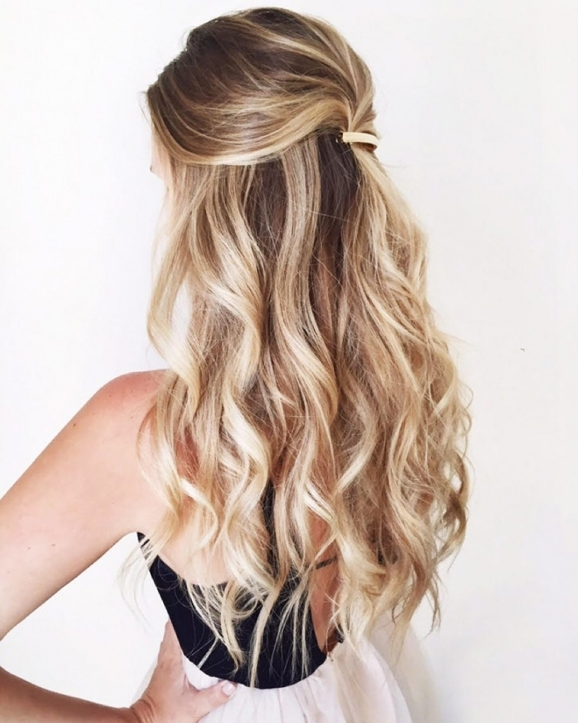 Loose Curls Half Up – Popular Long Hairstyle Idea | Half Up Half Regarding Curly Half Updo Hairstyles (View 10 of 15)
