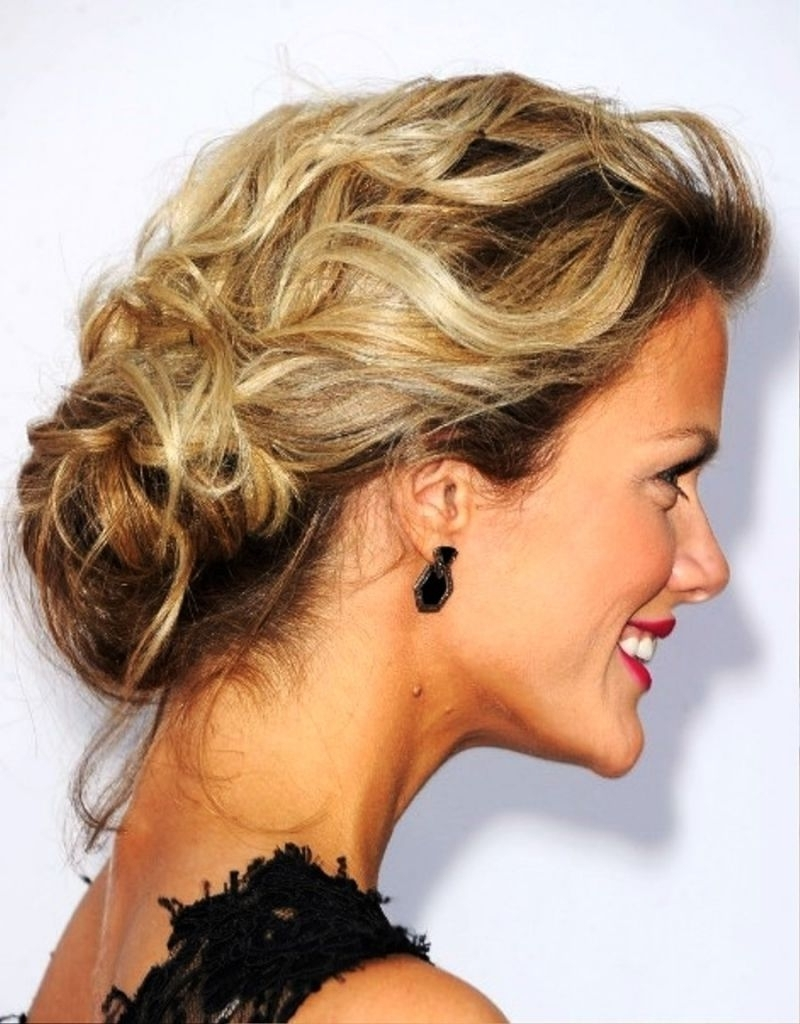 Low Curly Bun Updo 5 Messy Updo Hairstyle Idea39S For Medium Within Curly Bun Updo Hairstyles (View 10 of 15)