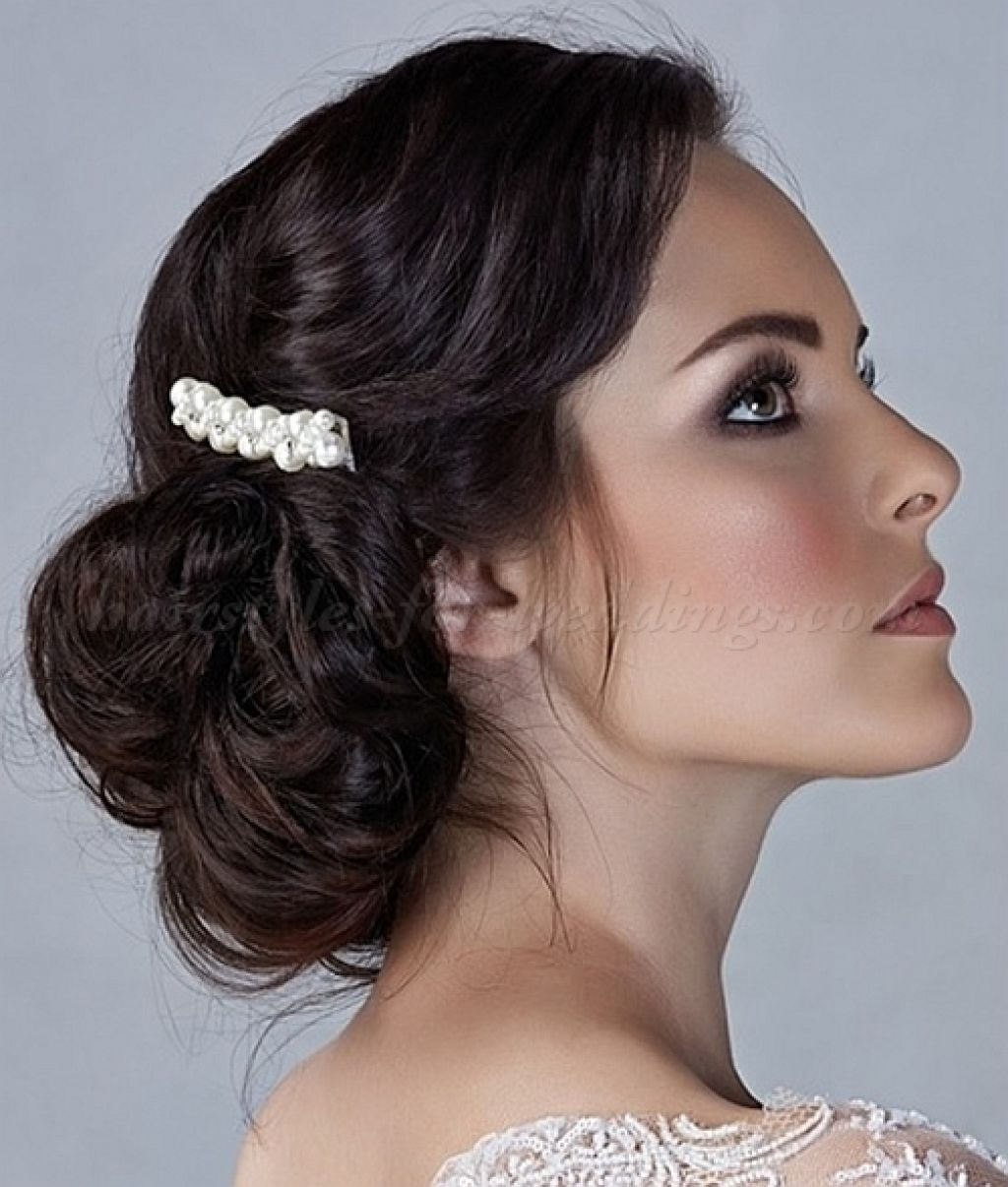 Low Messy Side Bun Hairstyle With Long Hair Elegant Wedding Pertaining To Low Bun Updo Hairstyles For Wedding (View 7 of 15)