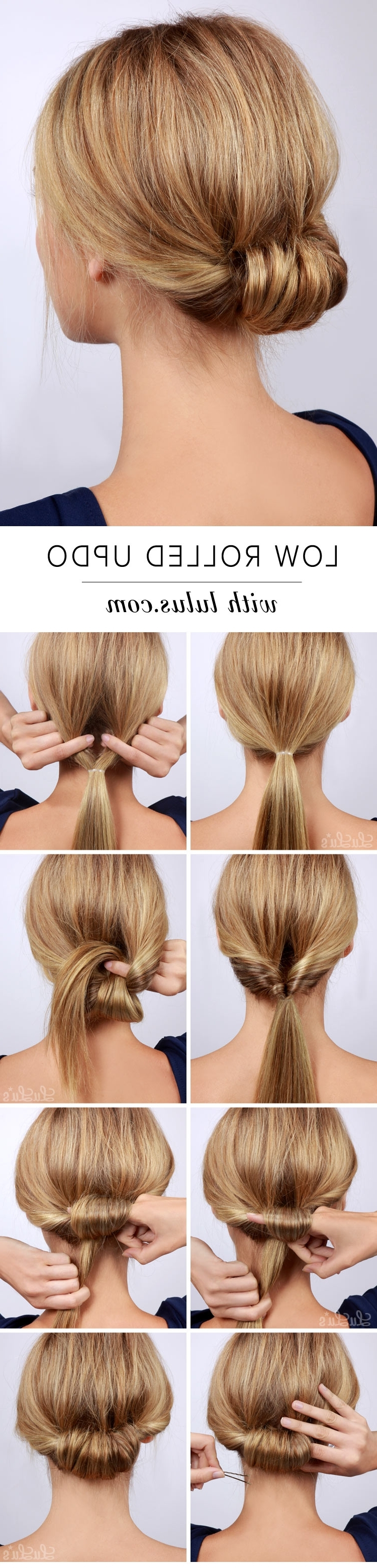 Lulus How To: Low Rolled Updo Hair Tutorial – Lulus Fashion Blog With Long Hair Updo Hairstyles For Work (View 14 of 15)