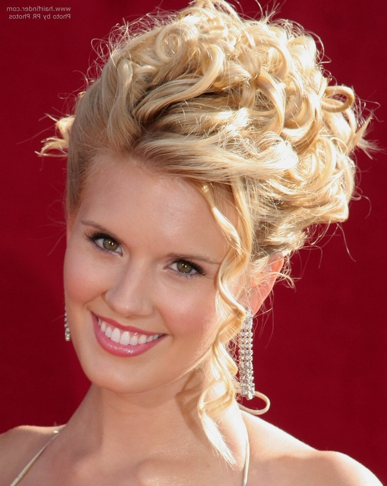 Maggie Grace With Her Hair In An Updo With Tendrils And Spiral Curls For Spiral Curl Updo Hairstyles (View 9 of 15)