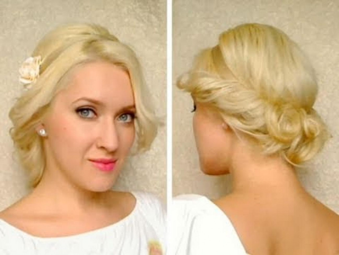 Medium Hair Length Cute Easy Curly Updo Hairstyle For Long | Latest Within Updo Hairstyles For Wavy Medium Length Hair (View 7 of 15)