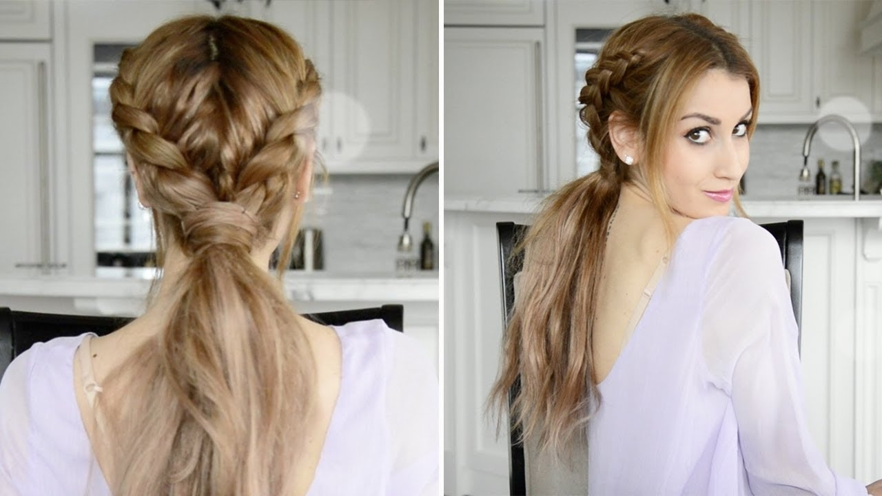 Messy Braided Boho Ponytail Hairstyle | Fancy Hair Tutorial – Youtube Inside Boho Updos For Long Hair (View 14 of 15)