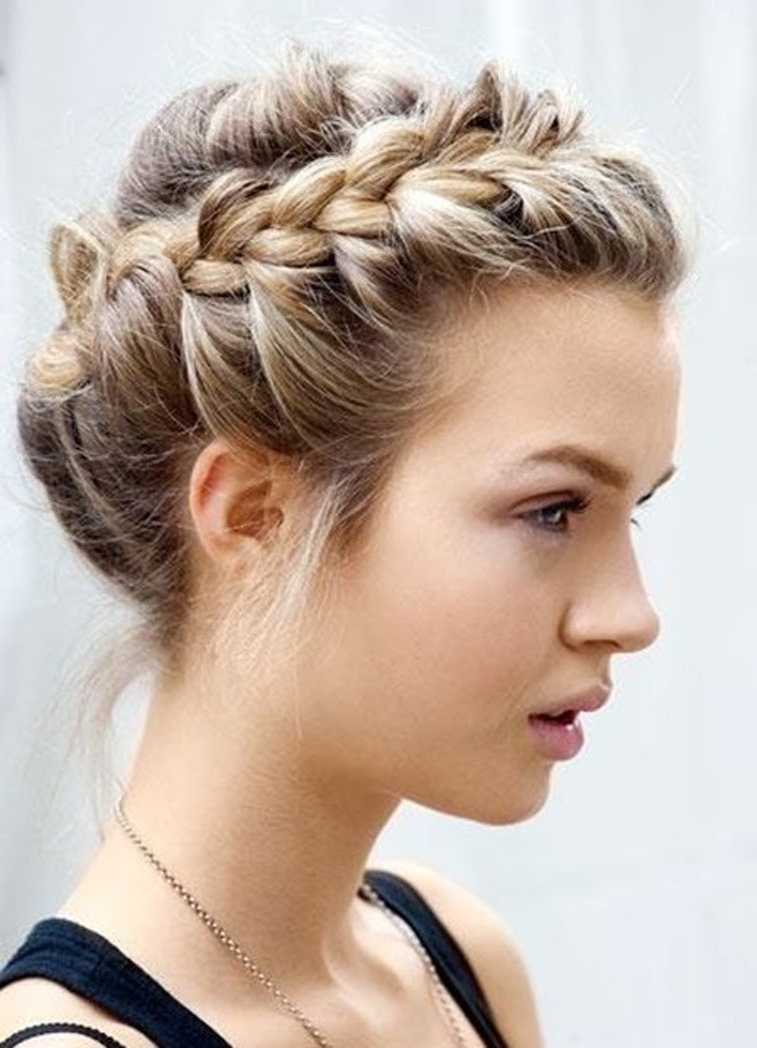 Messy Braided Updo Hairstyle Pertaining To Braids Updo Hairstyles (View 5 of 15)