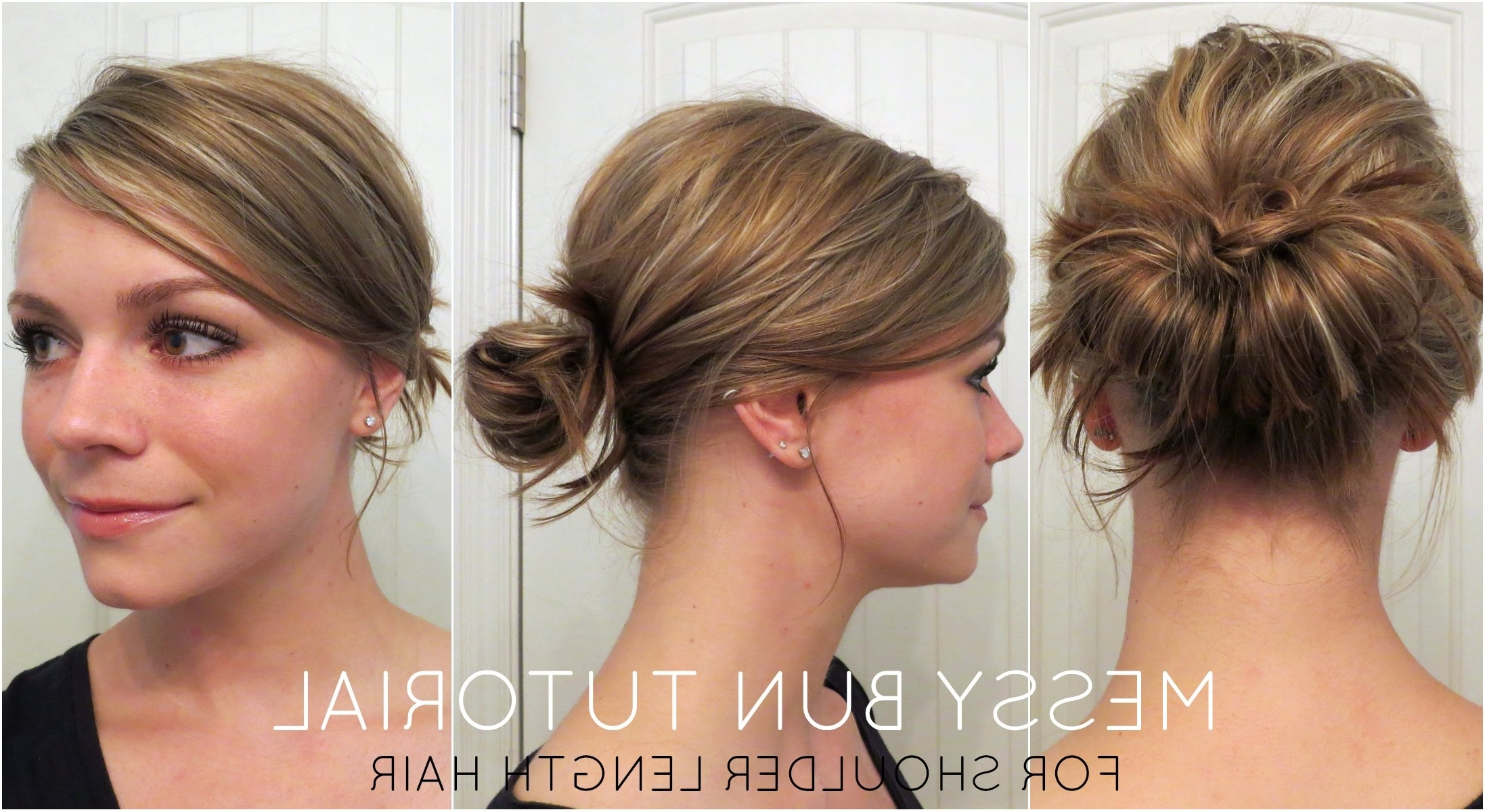 Messy Bun For Shoulder Length Hair – Youtube Throughout Quick Updos For Medium Length Hair (View 4 of 15)