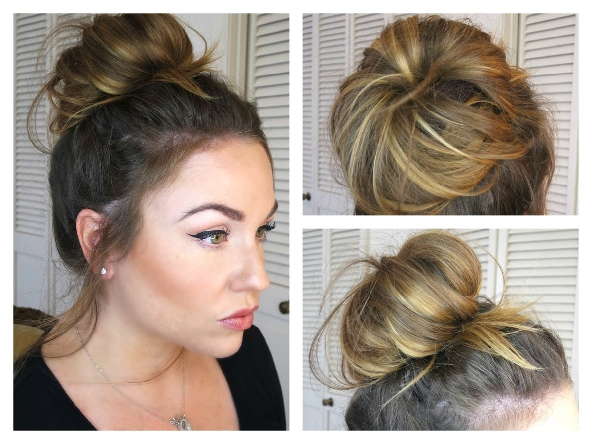 Messy Bun/topknot Tutorial: How To Get A Big Bun With Fine Hair In Easy Updo Hairstyles For Fine Hair Medium (View 9 of 15)