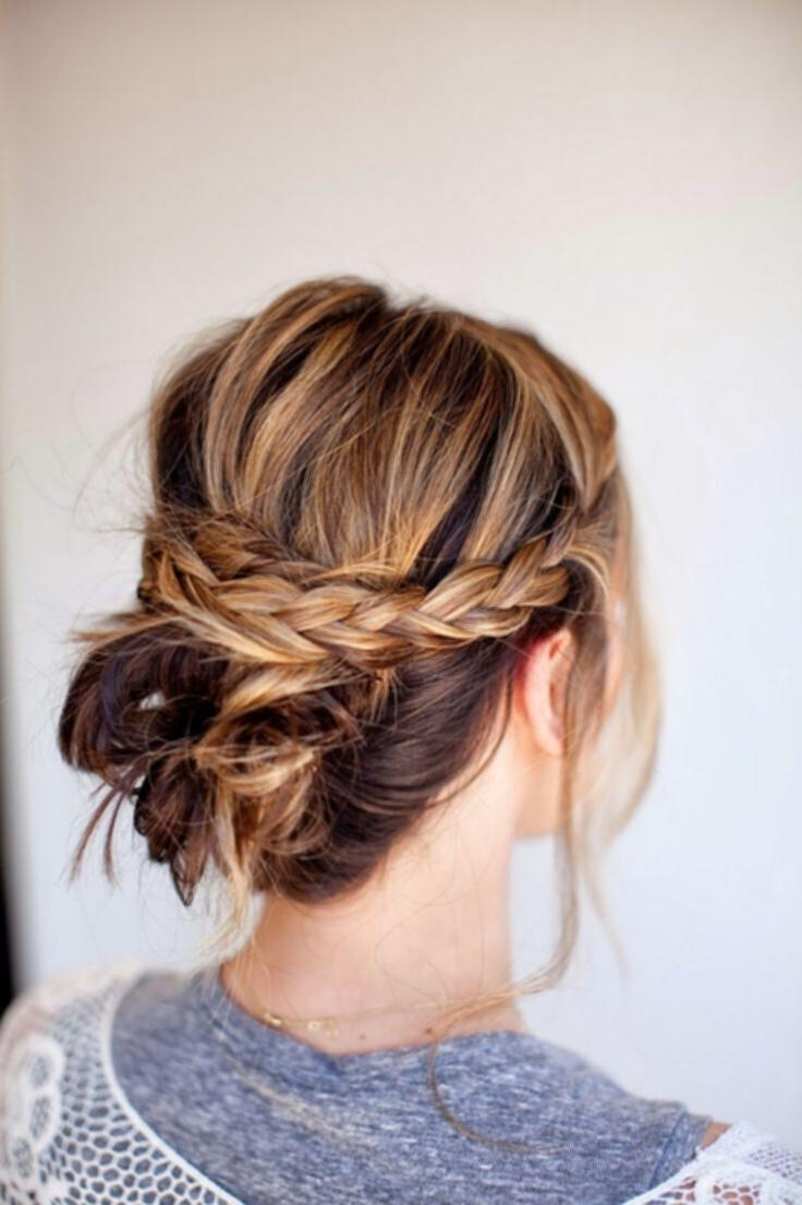 Messy Bun Updos For Medium Hair Messy Braid Bun Easy Updo Hairstyle Throughout Messy Updos For Medium Hair (View 7 of 15)